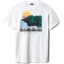 Υφασμάτινα T-shirt με κοντά μανίκια Napapijri NP0A4F5M λευκό