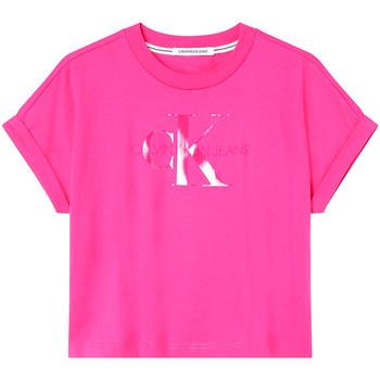 Υφασμάτινα Γυναίκα T-shirt με κοντά μανίκια Calvin Klein Jeans J20J216347 Ροζ