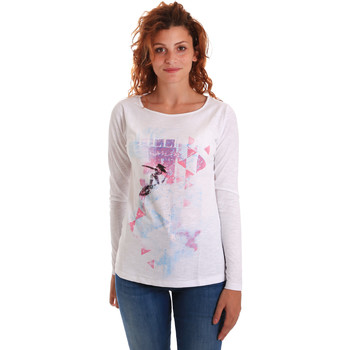 Υφασμάτινα Γυναίκα Μπλουζάκια με μακριά μανίκια Key Up 5G68S 0001 λευκό