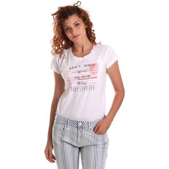 Υφασμάτινα Γυναίκα T-shirt με κοντά μανίκια Key Up 5K02S 0001 λευκό