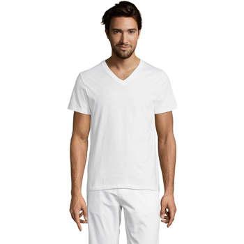 Υφασμάτινα Άνδρας T-shirt με κοντά μανίκια Sols Master camiseta hombre cuello pico Blanco
