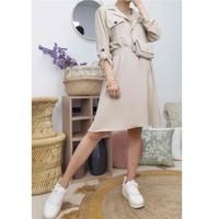 Υφασμάτινα Γυναίκα Κοντά Φορέματα Fashion brands CD2293-BEIGE Beige