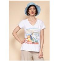 Υφασμάτινα Γυναίκα Μπλούζες Fashion brands 8301-COMBI-SKY-BLUE Μπλέ