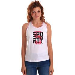 Υφασμάτινα Γυναίκα Αμάνικα / T-shirts χωρίς μανίκια Key Up 5G60S 0001 λευκό