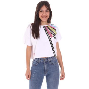 Υφασμάτινα Γυναίκα T-shirt με κοντά μανίκια Ea7 Emporio Armani 3KTT40 TJ39Z λευκό