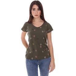 Υφασμάτινα Γυναίκα T-shirt με κοντά μανίκια Lumberjack CW60343 013EU Πράσινος