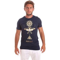Υφασμάτινα Άνδρας T-shirt με κοντά μανίκια Roberto Cavalli HST65B Μπλε