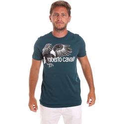Υφασμάτινα Άνδρας T-shirt με κοντά μανίκια Roberto Cavalli HST68B Πράσινος