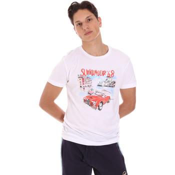 Υφασμάτινα Άνδρας T-shirt με κοντά μανίκια Key Up 2S427 0001 λευκό