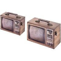 Σπίτι Κουτιά αποθήκευσης Signes Grimalt Tele Box Set 2 U Marrón