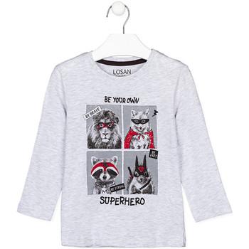 Υφασμάτινα Παιδί Μπλουζάκια με μακριά μανίκια Losan 125-1013AL Γκρί