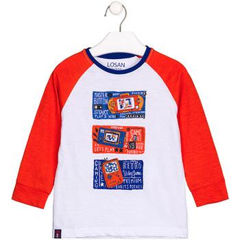 Υφασμάτινα Παιδί Μπλουζάκια με μακριά μανίκια Losan 125-1015AL λευκό