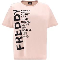 Υφασμάτινα Γυναίκα T-shirt με κοντά μανίκια Freddy F1WSDT1 Ροζ