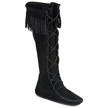 Παπούτσια Γυναίκα Μπότες για την πόλη Minnetonka FRONT LACE HARDSOLE KNEE HI BOOT Black