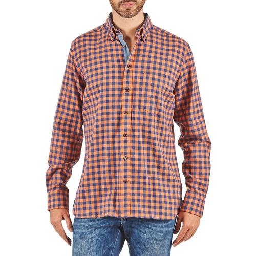 Υφασμάτινα Άνδρας Πουκάμισα με μακριά μανίκια Hackett SOFT BRIGHT CHECK Orange / Μπλέ