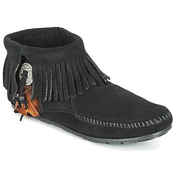 Παπούτσια Γυναίκα Μπότες Minnetonka CONCHO FEATHER SIDE ZIP BOOT Black