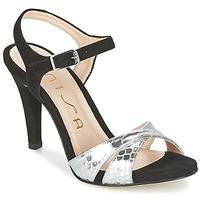 Παπούτσια Γυναίκα Σανδάλια / Πέδιλα Unisa WARIAN Black / Argenté