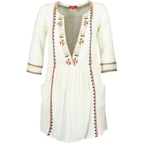 Υφασμάτινα Γυναίκα Κοντά Φορέματα Derhy EMBOUCHURE Ecru