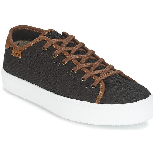 Παπούτσια Άνδρας Χαμηλά Sneakers Victoria BASKET LINO DETALLE MARRON Black / Brown