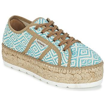 Παπούτσια Γυναίκα Χαμηλά Sneakers Victoria BASKET ETNICO PLATAFORMA μπλέ / Beige
