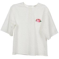 Υφασμάτινα Γυναίκα Μπλούζες Manoush FLOWER BADGE άσπρο