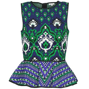 Υφασμάτινα Γυναίκα Αμάνικα / T-shirts χωρίς μανίκια Manoush JACQUARD OOTOMAN Μπλέ / Black / Green