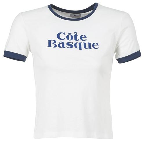 Υφασμάτινα Γυναίκα T-shirt με κοντά μανίκια Loreak Mendian COTE BASQUE Ecru / Marine