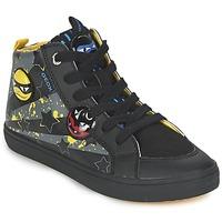 Παπούτσια Αγόρι Ψηλά Sneakers Geox KIWI BOY Black / Yellow