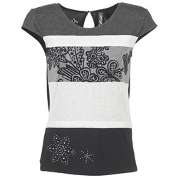 Υφασμάτινα Γυναίκα T-shirt με κοντά μανίκια Desigual KITEPI άσπρο / Grey / Black
