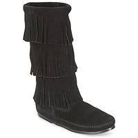 Παπούτσια Γυναίκα Μπότες για την πόλη Minnetonka CALF HI 3 LAYER FRINGE BOOT Black