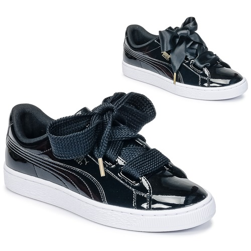 Παπούτσια Γυναίκα Χαμηλά Sneakers Puma BASKET HEART PATENT WN'S Black / Verni