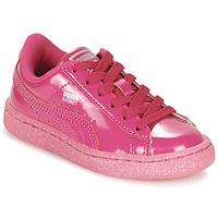 Παπούτσια Κορίτσι Χαμηλά Sneakers Puma BASKET PATENT ICED GLITTER PS ροζ