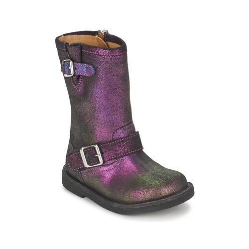 Παπούτσια Κορίτσι Μπότες για την πόλη Pom d'Api HIKE BIKER Violet