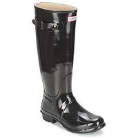 Παπούτσια Γυναίκα Μπότες βροχής Hunter WOMEN'S ORIGINAL TALL GLOSS Black