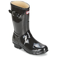 Παπούτσια Γυναίκα Μπότες βροχής Hunter WOMEN'S ORIGINAL SHORT GLOSS Black