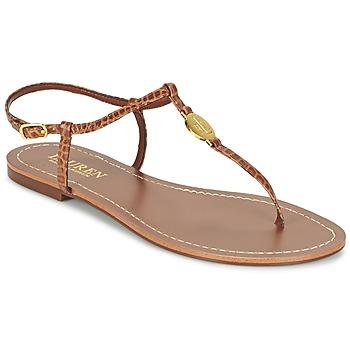Παπούτσια Γυναίκα Σαγιονάρες Ralph Lauren AIMON SANDALS CASUAL CAMEL