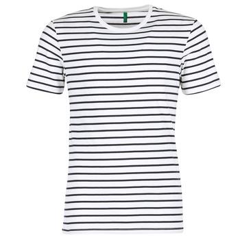 Υφασμάτινα Άνδρας T-shirt με κοντά μανίκια Benetton MAKOUL Μπλέ / Άσπρο