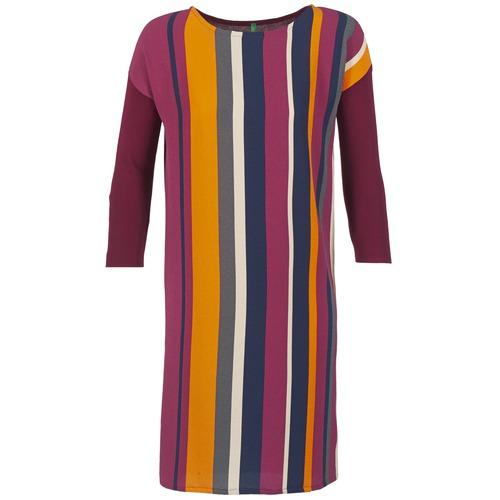 Υφασμάτινα Γυναίκα Κοντά Φορέματα Benetton VAGODA Bordeaux / Multicolour