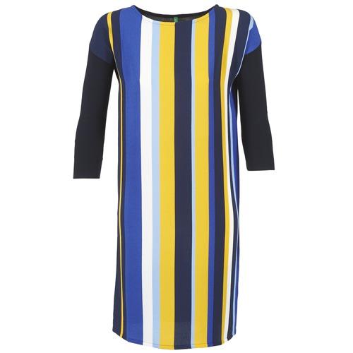 Υφασμάτινα Γυναίκα Κοντά Φορέματα Benetton VAGODA Μπλέ / Yellow / Άσπρο