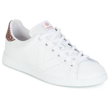 Παπούτσια Γυναίκα Χαμηλά Sneakers Victoria DEPORTIVO BASKET PIEL άσπρο / GLITTER