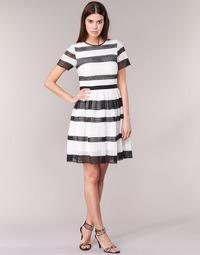 Υφασμάτινα Γυναίκα Κοντά Φορέματα MICHAEL Michael Kors GRAPHIC CR STRIPE DRS Black / Άσπρο