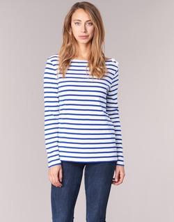 Υφασμάτινα Γυναίκα Μπλουζάκια με μακριά μανίκια Petit Bateau FIX Άσπρο / Μπλέ