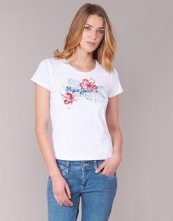 Υφασμάτινα Γυναίκα T-shirt με κοντά μανίκια Pepe jeans AMBER άσπρο