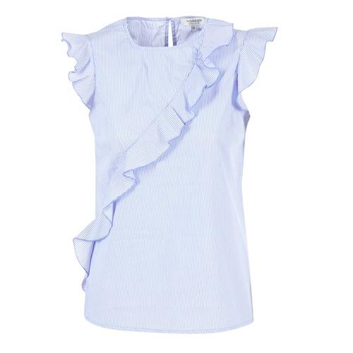 Υφασμάτινα Γυναίκα Μπλούζες Morgan MARFIZ μπλέ / άσπρο