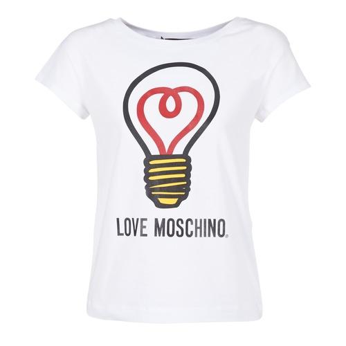 Υφασμάτινα Γυναίκα T-shirt με κοντά μανίκια Love Moschino W4F3038E1512 άσπρο