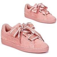 Παπούτσια Γυναίκα Χαμηλά Sneakers Puma Basket Heart Satin ροζ