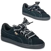 Παπούτσια Γυναίκα Χαμηλά Sneakers Puma Basket Heart Satin Black