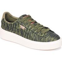 Παπούτσια Γυναίκα Χαμηλά Sneakers Puma Basket Platform Bi Color Kaki