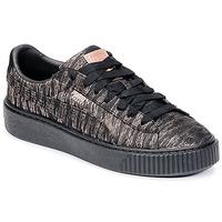 Παπούτσια Γυναίκα Χαμηλά Sneakers Puma Basket Platform Bi Color Black / ροζ