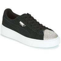 Παπούτσια Γυναίκα Χαμηλά Sneakers Puma SUEDE PLATFORM GLAM JR Black / Argenté